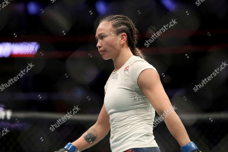Michelle Waterson is seen after defeating Karolina Kowalkiewicz in their mixed martial arts bout at UFC Fight Night, in Philadelphia. Waterson won via decision