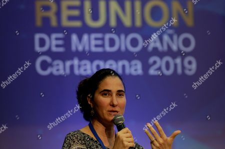Cuban journalist Yoani Sanchez speaks during the panel 'Can Cuba continue resisting the current of democratization in the next decade' on the second day of the Mid-Year Meeting of the Inter-American Press Association (SIP) in Cartagena, Colombia, 30 March 2019.