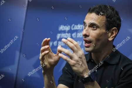 Stock Image of Two-time Venezuelan opposition presidential candidate Henrique Capriles speaks during an interview in Caracas, Venezuela, 30 March 2019. Capriles, one of the most important political figures in the country, believes that time does not play against Juan Guaido, recognized as President in charge by more than fifty nations, but against Venezuela.