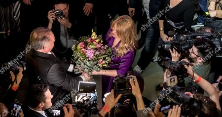 Slovak President Andrej Kiska (L) congrats to Slovak presidential candidate Zuzana Caputova during an elections night at her election headquartes in the Slovakia's presidential election run-off in Bratislava, Slovakia, 30 March 2019. After most of votes counted Zuzana Caputova is heading for victory in the presidential run-off elections and Slovakia's first female president.