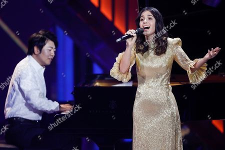 Chinese Pianist Lang Lang and British-Georgian singer Katie Melua during the 54rd annual 'Goldene Kamera' (Golden Camera) film and television awards ceremony in Berlin, Germany, 30 March 2019.