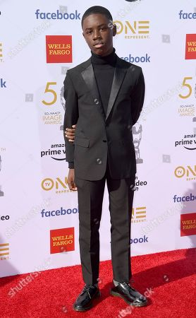 Stock Photo of Alex Hibbert arrives at the 50th annual NAACP Image Awards, at the Dolby Theatre in Los Angeles