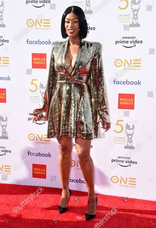 Tami Roman arrives at the 50th annual NAACP Image Awards, at the Dolby Theatre in Los Angeles