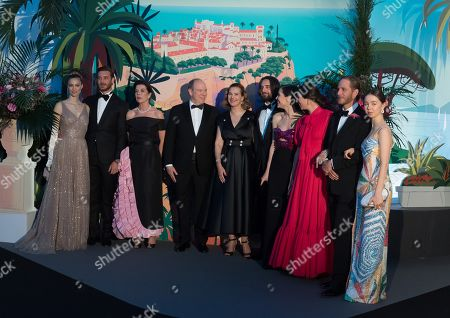 From left to right, Countess Beatrice Borromeo, Pierre Casiraghi, Princess Caroline of Hanover, Prince Albert II of Monaco, Carole Bouquet, Dimitri Rassam, Charlotte Casiraghi, Tatiana Santo Domingo, Andrea Casiraghi and Princess Alexandra of Hanover