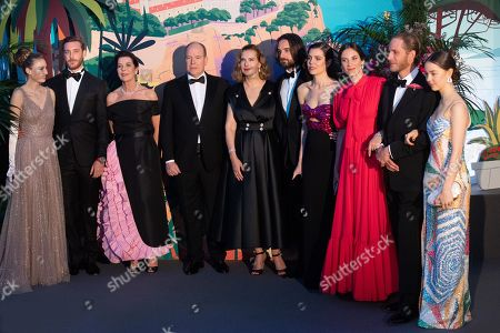 Beatrice Casiraghi, Pierre Casiraghi, Princess Caroline of Hanover, Prince Albert II of Monaco, Carole Bouquet, Dimitri Rassam, Charlotte Casiraghi, Tatiana Santo Domingo, Andrea Casiraghi and Alexandra of Hanover