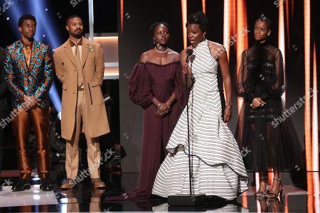 Michael B. Jordan, Chadwick Boseman, Lupita Nyong'o, Danai Gurira, and Letitia Wright