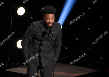 """Ryan Coogler accepts the award for outstanding motion picture for """"Black Panther"""" at the 50th annual NAACP Image Awards, at the Dolby Theatre in Los Angeles"""