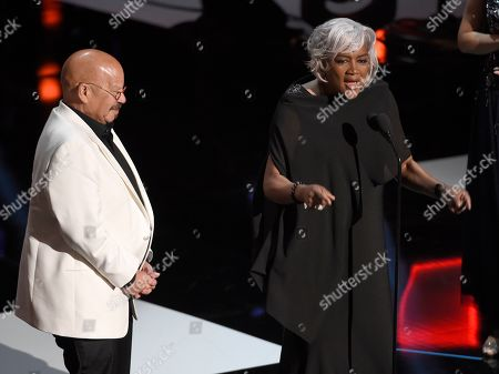 Tom Joyner, Donna Brazile. Tom Joyner, left, accepts the Vanguard award from presenter Donna Brazile at the 50th annual NAACP Image Awards, at the Dolby Theatre in Los Angeles