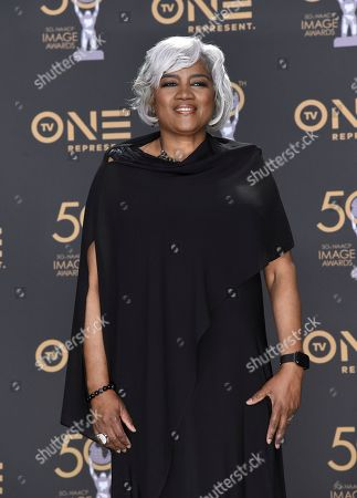 Donna Brazile poses in the press room at the 50th annual NAACP Image Awards, at the Dolby Theatre in Los Angeles