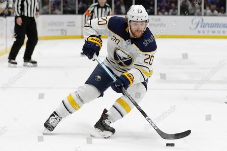 Buffalo Sabres' Scott Wilson (20) during the first period of an NHL hockey game against the New York Islanders, in Uniondale, N.Y