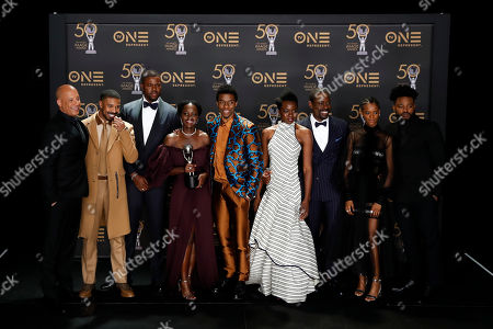 Vin Diesel poses with Michael B. Jordan, Winston Duke, Lupita Nyong'o, Chadwick Boseman, Danai Gurira, Sterling K. Brown, Letitia Wright, winners of Outstanding Motion Picture and Outstanding Ensemble Cast, and Ryan Coogler, winner of Outstanding Directing in a Motion Picture (Film) in a Motion Picture for 'Black Panther' pose during the 50th NAACP Image Awards at the Dolby Theatre in Hollywood, California, USA, 30 March 2019. The NAACP Image awards honor excellence in television, recording and motion picture categories.