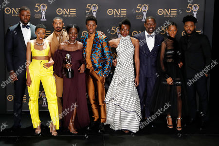 Winner of Outstanding Directing in a Motion Picture, winners of Outstanding Motion Picture and Outstanding Ensemble Cast in a Motion Picture for 'Black Panther', Winston Duke, Carrie Bernans, Michael B. Jordan, Lupita Nyong'o, Chadwick Boseman, Danai Gurira, Sterling K. Brown, Letitia Wright, and Ryan Coogler pose during the 50th NAACP Image Awards at the Dolby Theatre in Hollywood, California, USA, 30 March 2019. The NAACP Image awards honor excellence in television, recording and motion picture categories.