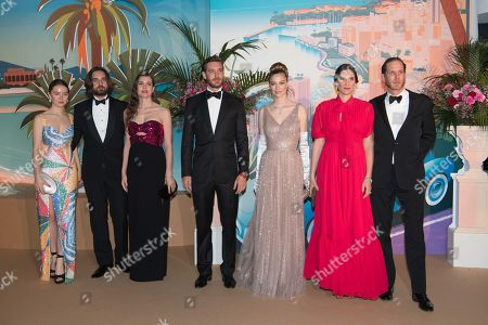 Princess Alexandra of Hanover, Dimitri Rassam, Charlotte Casiraghi, Pierre Casiraghi, Beatrice Borromeo, Tatiana Santo Domingo and Andrea Casiraghi