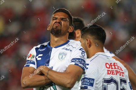 Pachucas' Franco Jara celebrates after scoring a goal against Toluca during a match of the Mexican league held at the Hidalgo stadium in Pachuca, Mexico, 30 March 2019.