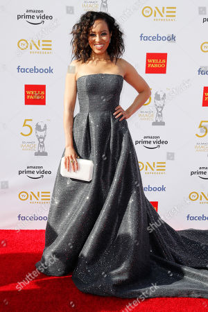 Dawn-Lyen Gardner poses for the photographers upon her arrival for the 50th NAACP Image Awards at the Dolby Theatre in Hollywood, California, USA, 30 March 2019 (issued 31 March 2019). The NAACP Image awards honor excellence in television, recording and motion picture categories.