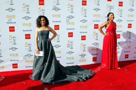 Dawn-Lyen Gardner (L) poses for the photographers upon her arrival for the 50th NAACP Image Awards at the Dolby Theatre in Hollywood, California, USA, 30 March 2019 (issued 31 March 2019). The NAACP Image awards honor excellence in television, recording and motion picture categories.