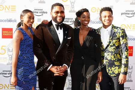 Anthony Anderson (2-L) poses with his wife Alvina Stewart (2-R) and his children Kyra (L) and Nathan for the photographers upon arrival for the 50th NAACP Image Awards at the Dolby Theatre in Hollywood, California, USA, 30 March 2019 (issued 31 March 2019). The NAACP Image awards honor excellence in television, recording and motion picture categories.