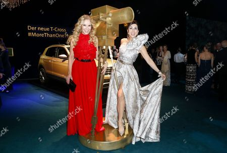 Germany actress Katja Burkard (L) and German television personality Judith Williams attend the 'Goldene Kamera' (Golden Camera) 2019 after party at Tempelhof Airport in Berlin, Germany, 30 March 2019.