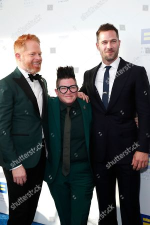 (L-R) Jesse Tyler Ferguson, Lea DeLaria and Luke Macfarlane attend the Human Rights Campaign 2019 Los Angeles Dinner at JW Marriott Los Angeles at L.A. LIVE in Los Angeles, California, USA, 30 March 2019 (issued 31 March 2019). The Human Rights Campaign is America's largest civil rights organization working to achieve equality for lesbian, gay, bisexual, transgender and queer people.