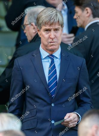 Stock Photo of Former Rangers player Richard Gough in the Directors Box before kick off.