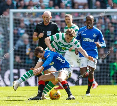 James Forrest of Celtic & Andy Halliday of Rangers battle for the ball, chased by Referee Bobby Madden, Glen Kamara of Rangers & Celtic captain Scott Brown.