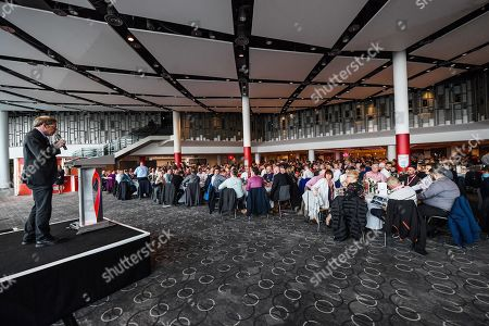 Stock Photo of Mind CEO, Paul Farmer gives a speech in the Bobby Moore Suite