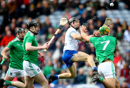 Limerick vs Waterford. Limerick's Darragh O'Donovan, Declan Hannon and Dan Morrissey with Jamie Barron of Waterford
