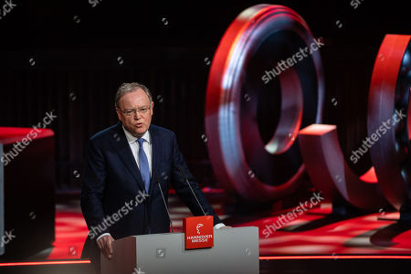 The state governor of Lower Saxony, Stephan Weil speaks the opening ceremony of the Hannover Industry Fair (Hannover Messe) in Hanover, Germany, 31 March 2019. From 01 April to 05 April, 6,500 exhibitors from 75 countries show their products during one of the World's leading fairs for industrial goods. Main focus of the Hannover Messe 2019 is on Artificial Intelligence and the new mobile standard 5G.