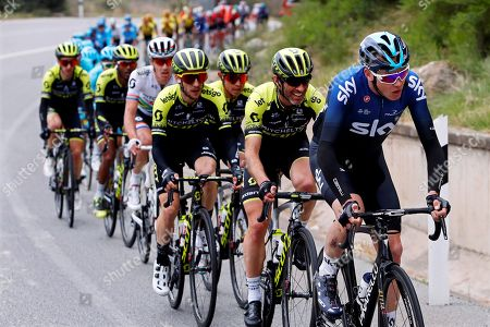 British rider Christopher Froome (R) of Team Sky in action during the seventh stage of the 99th Tour of Catalonia cycling race over 143.1km in Barcelona, Spain, 31 March 2019.
