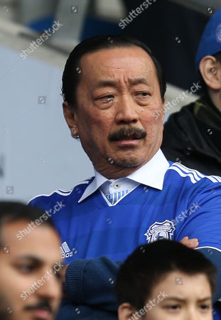 Cardiff City owner Vincent Tan looks on before the start of the match