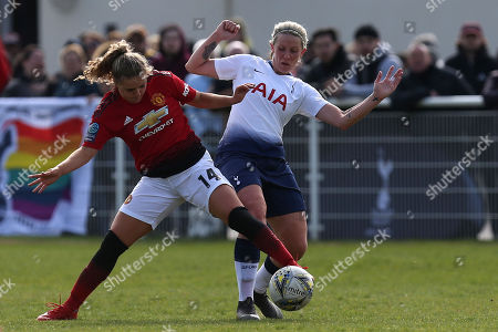 Charlie Devlin of Manchester United Women and Emma Beckett of Tottenham Ladies during Tottenham Hotspur Ladies vs Manchester United Women, FA Women's Championship Football at Theobalds Lane on 31st March 2019