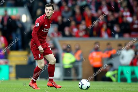 Stock Photo of Liverpool defender Andrew Robertson (26) during the Premier League match between Liverpool and Tottenham Hotspur at Anfield, Liverpool
