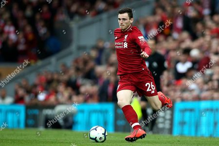 Stock Photo of Liverpool's flying Scotsman Liverpool defender Andrew Robertson (26) during the Premier League match between Liverpool and Tottenham Hotspur at Anfield, Liverpool