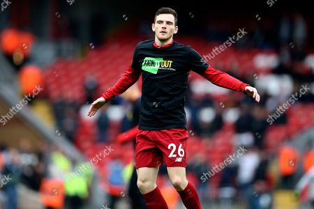 Liverpool defender Andrew Robertson (26) warming up during the Premier League match between Liverpool and Tottenham Hotspur at Anfield, Liverpool
