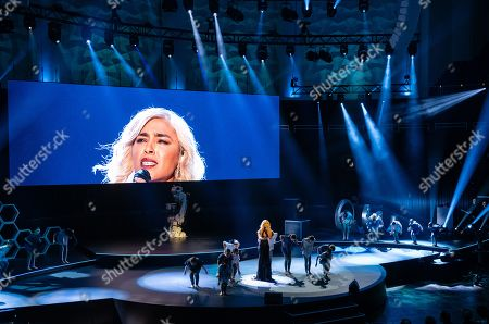 Swedish singer Loreen performs during the opening ceremony of the Hannover Industry Fair, in Hanover, northern Germany, 31 March 2019. From 01 April to 05 April, 6,500 exhibitors from 75 countries show their products during one of the world's leading fair for industrial goods. Its main focus is on Artificial Intelligence and the new mobile standard 5G.