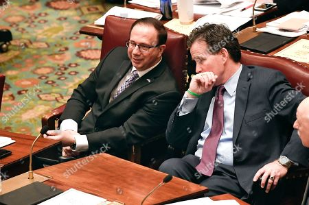Senate Deputy Minority Leader Joseph Griffo, R-Utica, left, speaks with Senate Minority Leader John Flanagan, R-Smithtown, as Senate members debate budget bills in the Senate Chamber at the state Capitol Sunday, March, 31, 2019, in Albany, N.Y