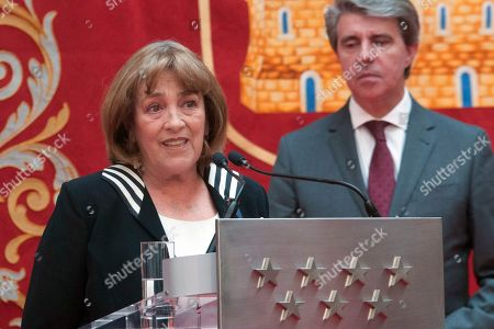 Spanish actress Carmen Maura recieves the Arts Medal of Madrid Community at CAM Headquarter in Madrid on March 19, 2019.