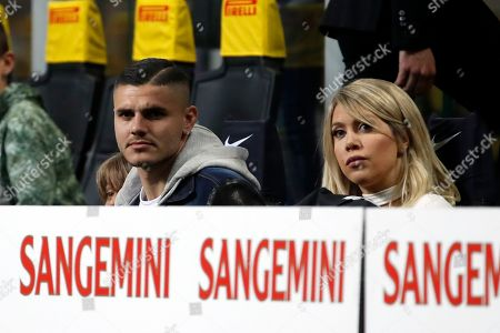 Stock Picture of Inter Milan's Mauro Icardi and his wife Wanda Nara follow the Serie A soccer match between Inter Milan and Lazio at the San Siro stadium in Milan, Italy
