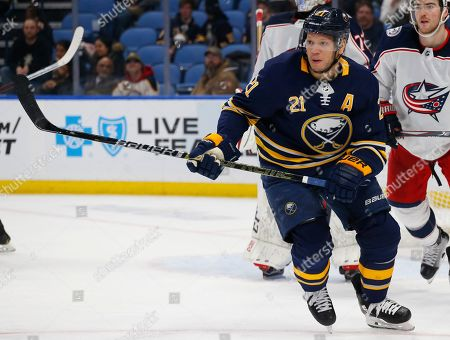 Buffalo Sabres forward Kyle Okposo (21) skates during the third period of an NHL hockey game against tyhe Columbus Blue Jackets, in Buffalo, N.Y