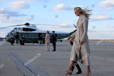 Ivanka Trump, Theodore Kushner, Donald Trump, Melania Trump, Barron Trump. Ivanka Trump and her son Theodore Kushner, walk on the tarmac of Andrews Air Force Base, Md., past the Marine One carry ing her father President Donald Trump, upon arrival from a trip from Florida