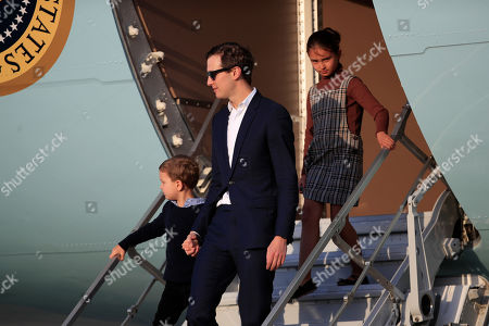 Jared Kushner, Joseph Kushner, Arabella Rose Kushner. White House senior adviser Jared Kushner with his son Joseph Kushner, left, and daughter Arabella Rose Kushner, right, disembark Air Force One upon arrival at Andrews Air Force Base, Md