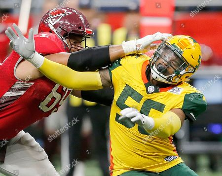 San Antonio Commanders offensive lineman Andrew McDonald (69) blocks out Arizona Hot Shots linebacker Nyles Morgan (55) in the second half during an Arizona Hotshots at San Antonio Commanders AAF football game, at the Alamodome in San Antonio