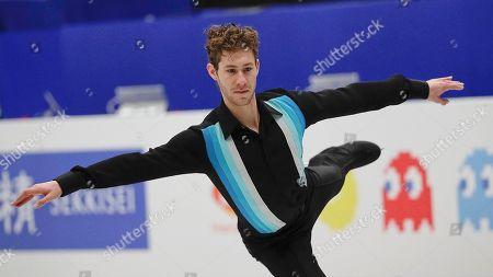 Jason Brown from the U.S. performs his men's free skating routine during the ISU World Figure Skating Championships at Saitama Super Arena in Saitama, north of Tokyo on