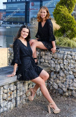 Niamh Conway Miss West Midlands and Alisha Cowie Miss England 2018 in little black dress from 'Religion Clothing' at Miss England photocall at Resorts world Birmingham to promote the Miss England Midlands Semi Final which will take place there in June.
