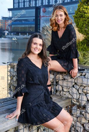 Stock Image of Niamh Conway Miss West Midlands and Alisha Cowie Miss England 2018 in little black dress from 'Religion Clothing' at Miss England photocall at Resorts world Birmingham to promote the Miss England Midlands Semi Final which will take place there in June.