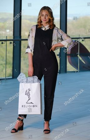 Alisha Cowie Miss England 2018 in an oufit from 'Religion Clothing' at Miss England photocall at Resorts world Birmingham to promote the Miss England Midlands Semi Final which will take place there in June.