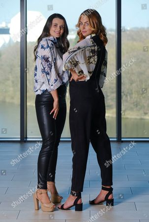 Niamh Conway Miss West Midlands and Alisha Cowie Miss England 2018 in an oufit from 'Religion Clothing' at Miss England photocall at Resorts world Birmingham to promote the Miss England Midlands Semi Final which will take place there in June.