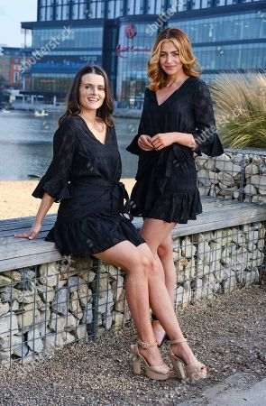 Stock Picture of Niamh Conway Miss West Midlands and Alisha Cowie Miss England 2018 in little black dress from 'Religion Clothing' at Miss England photocall at Resorts world Birmingham to promote the Miss England Midlands Semi Final which will take place there in June.