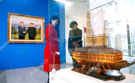 Officials check displays to be made public at an exhibition of foreign leaders' gifts at a subsidiary building of the presidential office in Seoul, South Korea, 01 April 2019. Seen here is a model of a turtle ship, or Geobukseon, an armored warship built by legendary Korean naval chief Adm. Yi Sun-shin, which North Korean leader Kim Jong-un gifted South Korean President Moon Jae-in. The exhibition will be held on 02 April.
