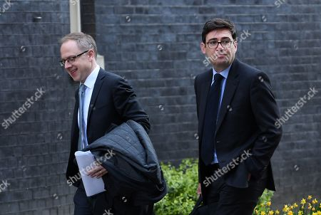 Labour MP and Mayor of Manchester Andy Burnham (R) arrives at 10 Downing Street in London Britain, 01 April 2019. MPs will take part in a second round of votes on alternative Brexit proposals in British parliament later in the day.